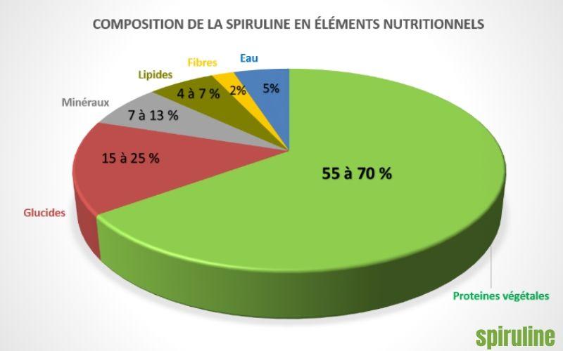 Infographie sur la composition de la spiruline en éléments nutritionnels - Spiruline conseil Luxembourg
